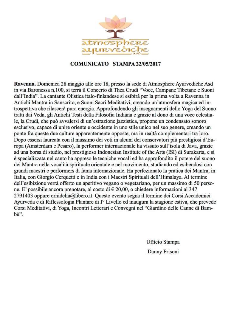 atmosphere ayurvediche ravenna - comunicato stampa concerto thea crudi
