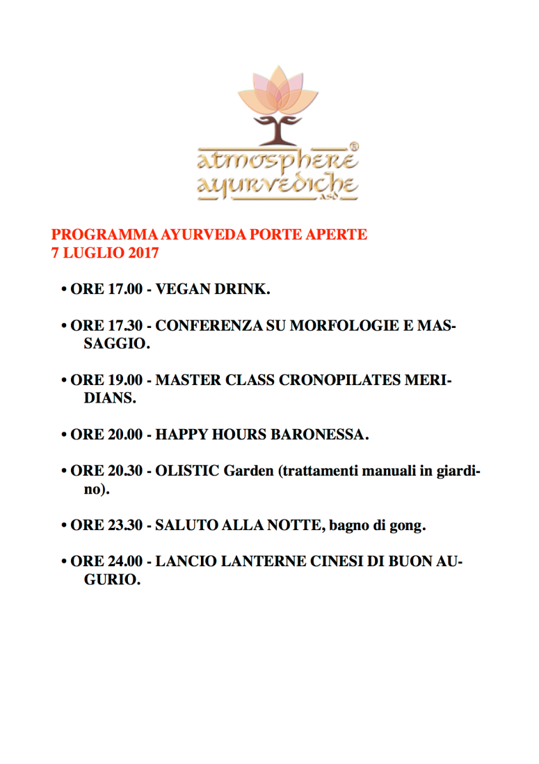 atmosphere ayurvediche ravenna - programma giornata porte aperte 7 luglio 2017